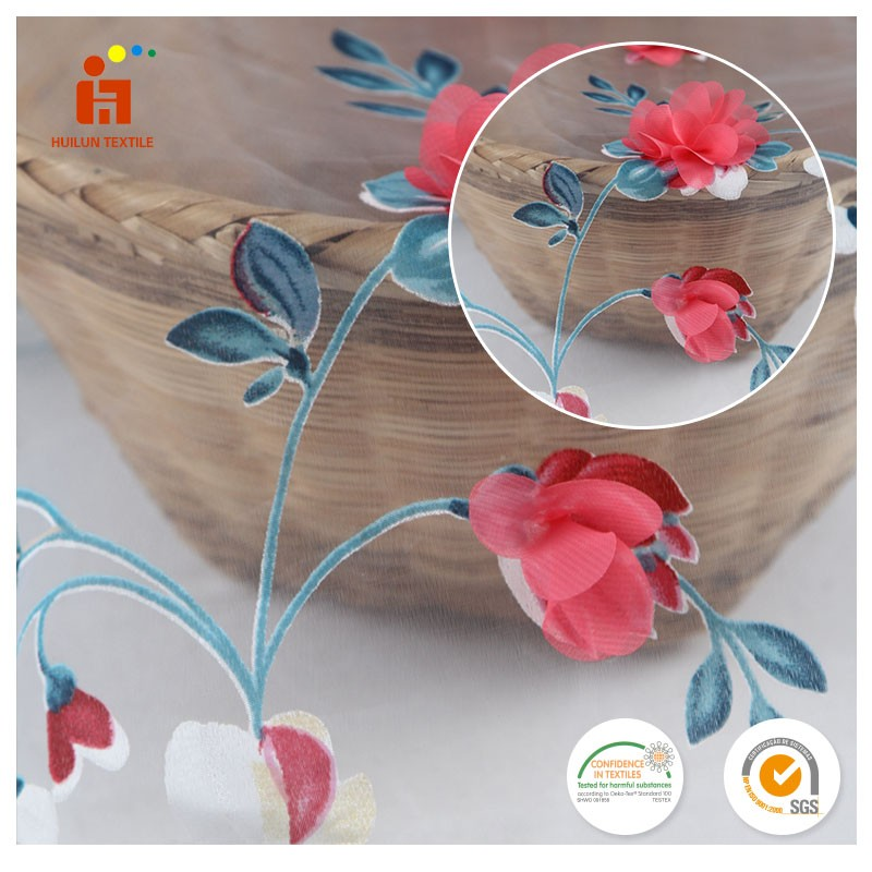 Hottest products 2017 korean style polyester tulle embroidered fabric wholesalers in united states