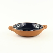 Black Glazed Round Terracotta <strong>Plate</strong> with Two Handles Ceramic Salad <strong>Plate</strong> Ovenware