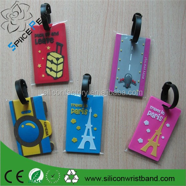 Cartoon cheap Silicone Flight Tags sky Travel Luggage trolley Suitcase Bags Labels Bag Parts & Accessories