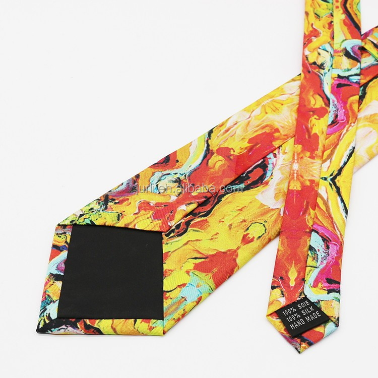 colorful printed fabric men's polyester neck tie