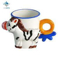 Different design animal ceramic cafe mug with special handle