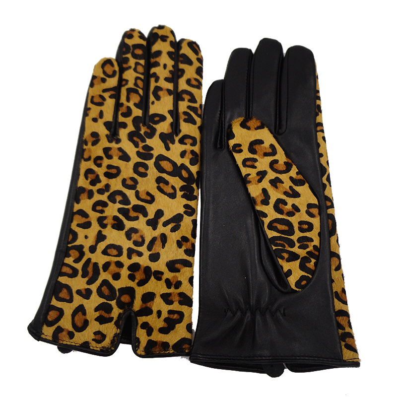 Popular fashion leopard print calf hair tight leather gloves