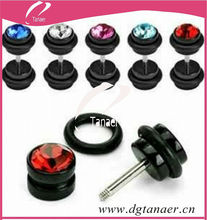 2014 hot sale acrylic black rhinestone fake plug piercing