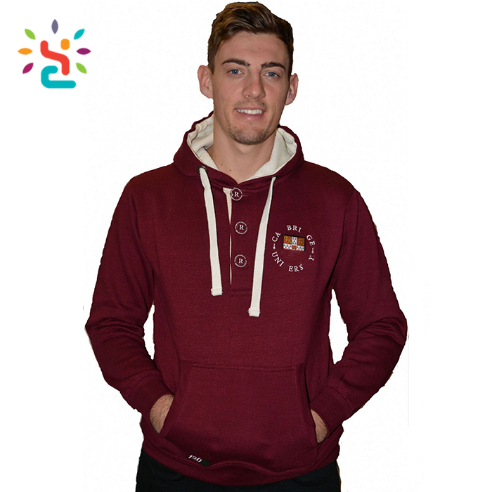 Wholesale 3 button sweatshirt custom hoodies for men full sleeve 60 cotton 40 polyester hoodies