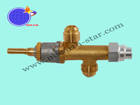 Gas safety valve with M12x1 inlet and outlet for gas bbq