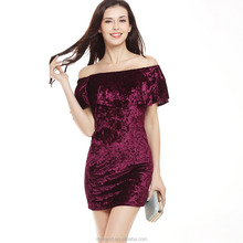 Latest design fashion velvet women short prom dresses