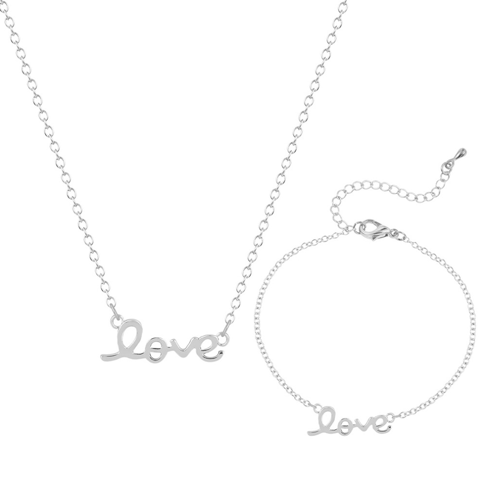 Sets of Jewelry Love White Gold Plated Vintage Jewelry Set Women Letter Heart Charm Pendant Necklace with Bracelets For Bride