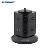 SAFEMORE US Power Stacker Socket Strip 6 outlet with 4 USB Ports Surge Protector with CE ROHS FCC