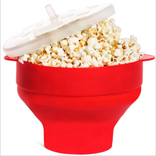 Collapsible Silicone Microwave Hot Air Popcorn Popper Bowl Holds Up to 10 Cups of Popcorn