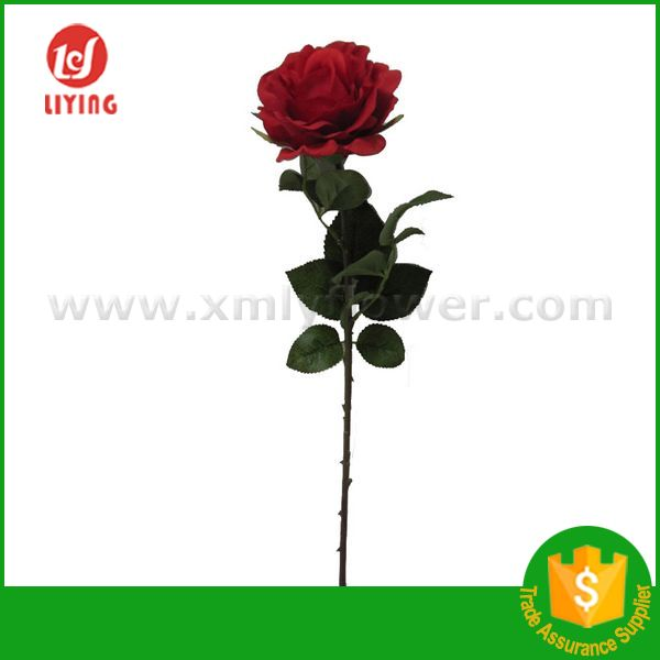 "H27"" Artificial Red Rose Silk Flowers Single Stem Rose Flower"