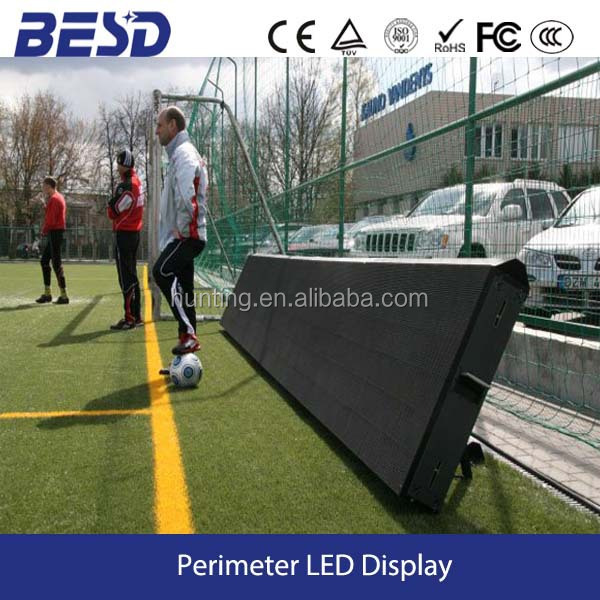 2 year warranty High resolution advertising P10 outdoor football stadium perimeter led display/led screen/led panel