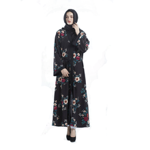 2018 Wholesale black elengent new floral printed <strong>muslim</strong> dress umbrella <strong>abaya</strong> with belt for women manufacturer