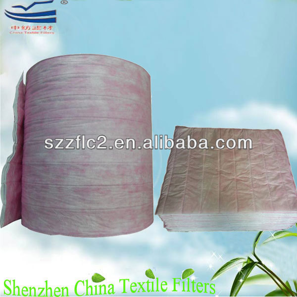 Air bag filter roll media for HVAC