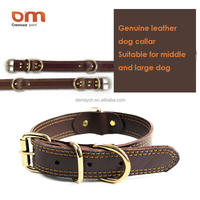 Cow Leather Pet Collar Brown Leather