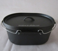 Kitchen accessories/ kitchen appliances/ cookware/ pre-seasoned cast iron cookware oval dutch oven