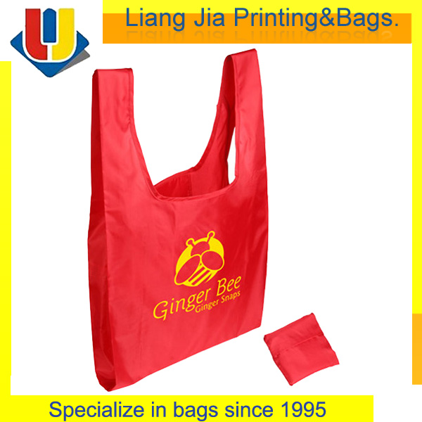 Custom Logo Printed Polyester Folding Shopping Tote Bag