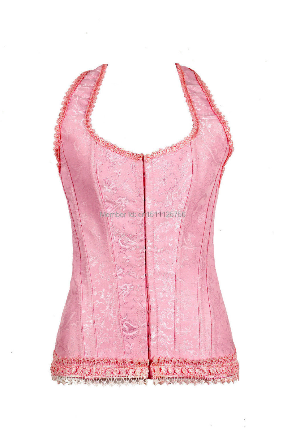 Sexy Pink Wedding Renaissance Satin Corset Lace Up Bustier Top Body Shaper 3050