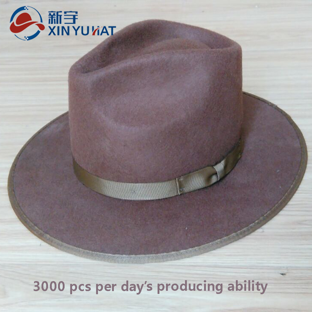 cheap winter wool fedora hat with ribbon