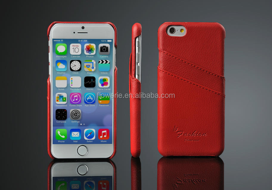 FL2540 for Apple iPhone 6 4.7 inch Genuine Litchi Leather Case - Vertical Flip Leather Case with Unique card slot