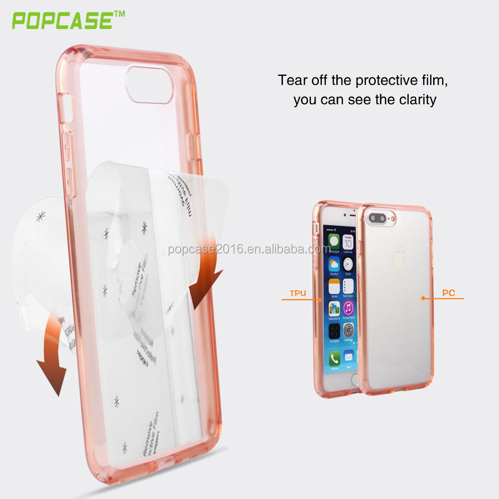 2016 newest TPU+PC clear protective cover case for iPhone7s, transparent TPU+PC case for iphone 7plus