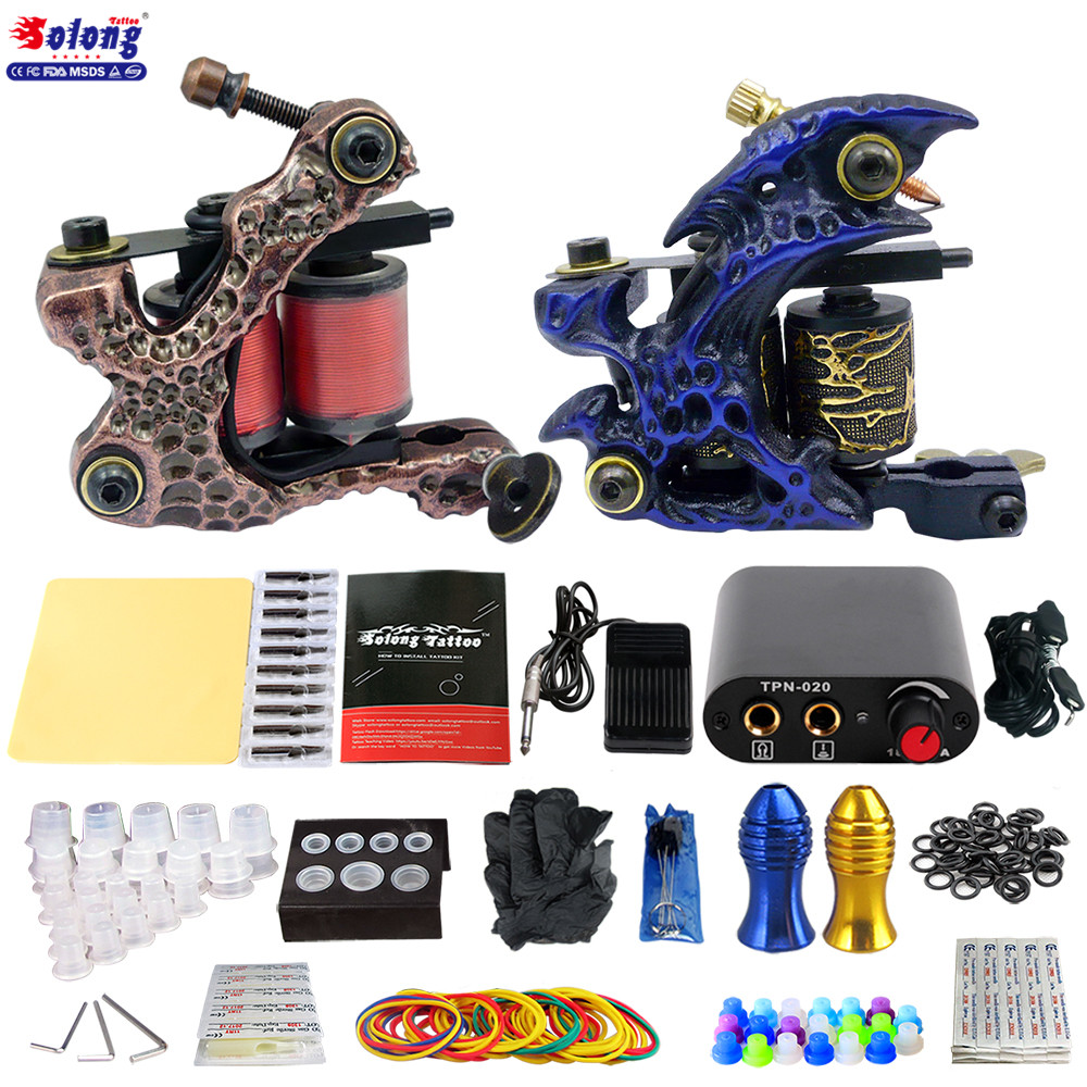 Solong Beginner Tattoo Kit 2 Pro Machine Guns Power Supply Needle Grips Tips high quality coil tattoo machine kit beginner
