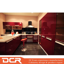 Hot Sale Modern High Gloss Red Lacquer Finish MDF Kitchen Cabinets