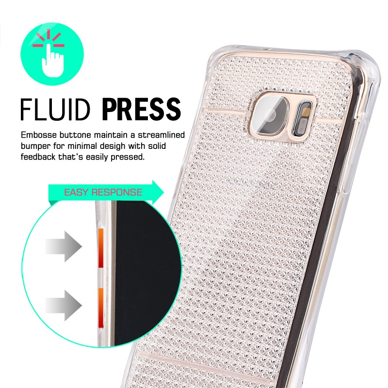 Diamond shiny designshockproof tpu soft case with Nano explosion-proof screen protector for samsung galaxy s7