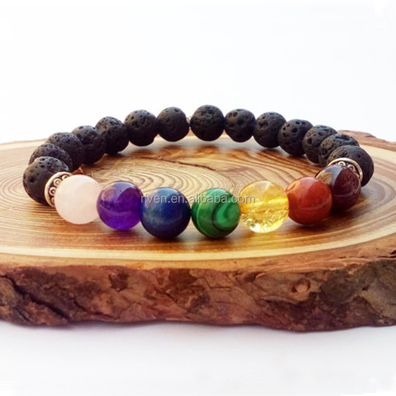 SN0829 7 Chakra Couples Bracelets His and Her Mala Beaded Chakra Yoga Jewelry Healing Yoga Bracelet