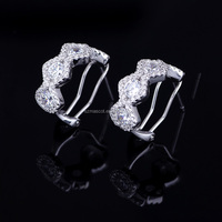 Micro pave cz fashion diamond earring studs AAA Grade cubic zirconia white stone earrings for women