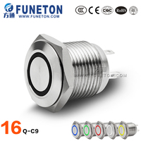Ring Light OFF- ON Push Button, Flat Metal Push Button Switch, LED Pushbutton Switch