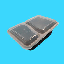 wholesale 1000ml/ 36oz black 2 compartments disposable plastic food storage/meal prep container/lunch box manufacture