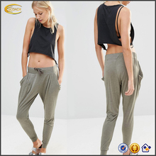 Ecoach New lady Slightly dropped crotch Khaki Drawstring waist trousers Low rise hip hop harem pants with Side pocket Wholesale