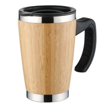 450ml 100% natural bamboo coffee or tea drinking <strong>cup</strong> single use with handle