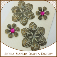 4pcs purple theme metal flower sticker for crafts