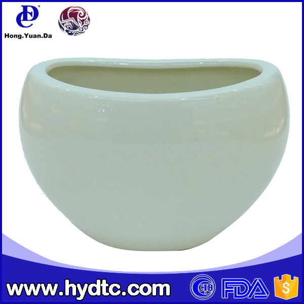 oval shape white ceramic small flower pots