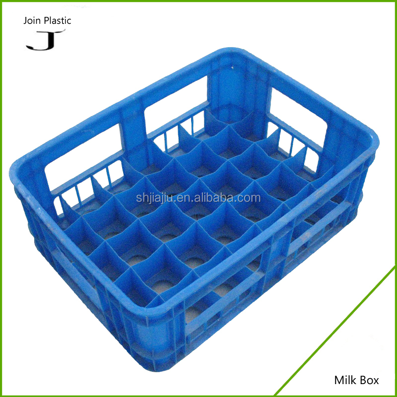 Hot sales food grade solid plastic milk crate for 35 bottles