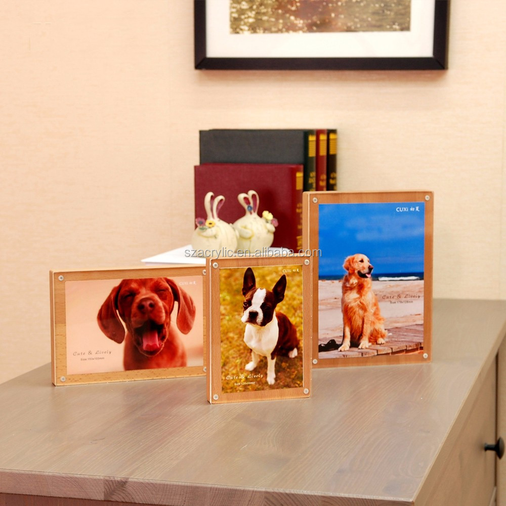Clear Magnet Wooden Acrylic Photo Picture