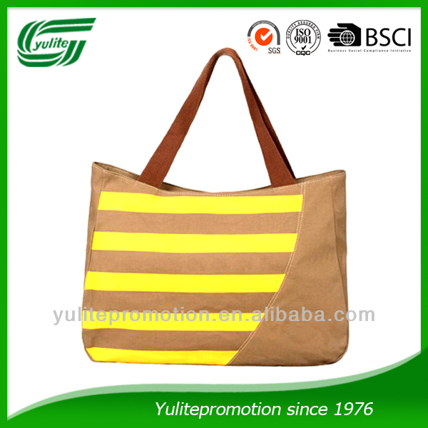 Lady canvas beach bag with stripe printing