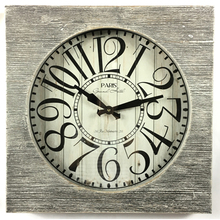 Paris style rustic wooden quartz wall clock world time zones current