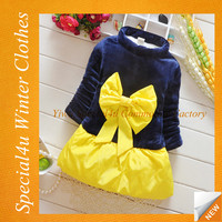 New design baby girls winter dress with big bow beautiful baby coat dress SY-945