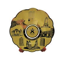 country paris tourist gold brass souvenir plate