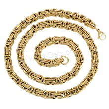 necklace men Stainless Steel Chain Necklace gold color plated byzantine chain & Unisex 6mm Length:Approx 21.5 Inch
