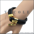 Stainless Steel Clasp Two-stand Thick Genuine Leather Thick Bracelet for Men