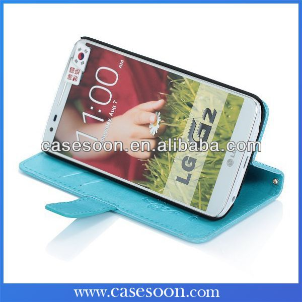 Book Style High Quality Leather Wallet Case for LG Optimus G2 Cover ,For LG G2 Card Holder Phone Case