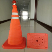 Road Safety Portable Retractable Traffic Cone with Solar Warning Light
