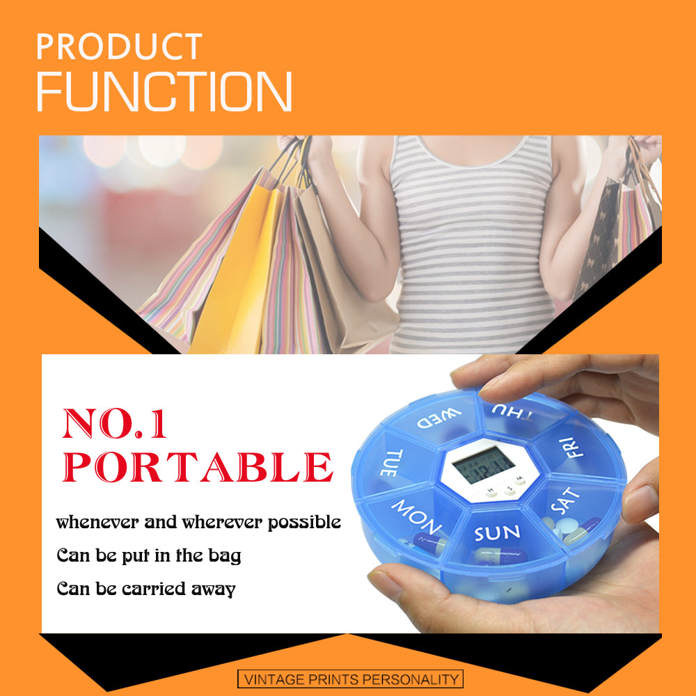 Alarm Dispenser Small Weekly Pill Organizer Electronic Medication Dispenser