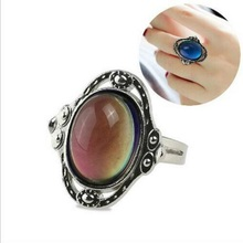 Ally Express Cheap Wholesale Antique Silver Changing Color Mood Stone Ring