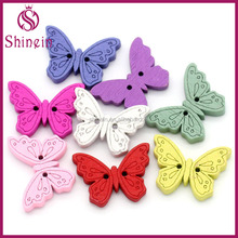 High quality 18x24mm butterfly shaped wooden button for DIY