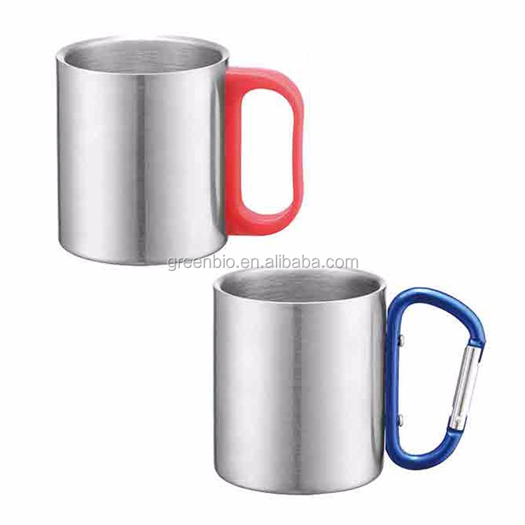 Simple and convenient to use metal color stainless steel coffee mug with handle