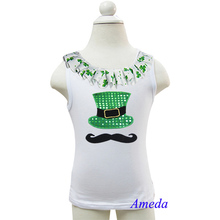 St Patricks Day Bling Hat Mustache White Tank Top 3M-10Y